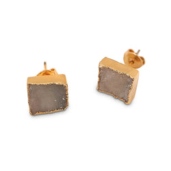 DRUZY SMALL SQUARE STUD PLATED EARRINGS
