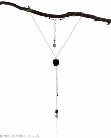 HELIOS Black Tourmaline Chunk Tassel Drop Necklace