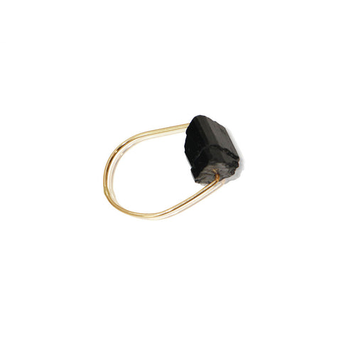 HELIOS Black Tourmaline Simple Gold Ring