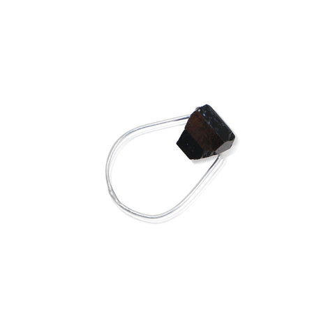 HELIOS Black Tourmaline Simple Silver Ring