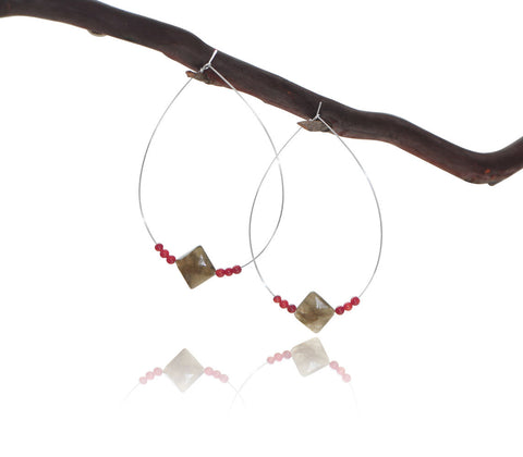 NORTHERN LIGHTS Labradorite Coral Simple Hoop Earrings