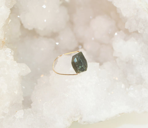 NORTHERN LIGHTS Labradorite Faceted Simple Gold Ring