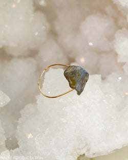 NORTHERN LIGHTS Labradorite Simple Gold Ring