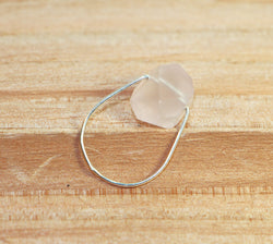 NORTHERN LIGHTS Rose Quartz Simple Silver Ring