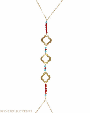 SEA'S GARDEN 3 Quatrefoil Coral Body Chain