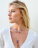 SHAMAN Amethyst, Rose Quartz, Ruby, & Turquoise Drop Necklace