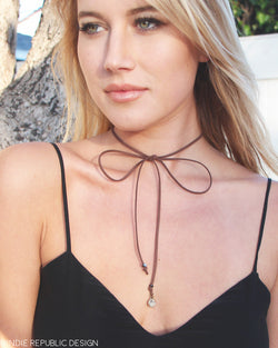 Tie Up Choker - Brown Leather Wrap Bolo Tie Necklace
