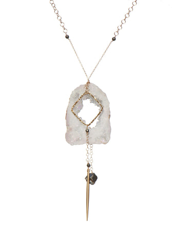 Geode Nature's Glitter Square Gold Long Necklace