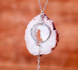 Geode Nature's Glitter Circle Silver Long Necklace