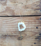 Geode Nature's Glitter Circle Gold Long Necklace
