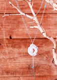 Geode Nature's Glitter Square Silver Long Necklace