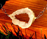 Geode Simple Rock Silver Necklace