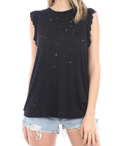 Distressed Tank Top - Black