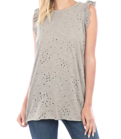 Distressed Tank Top - Olive