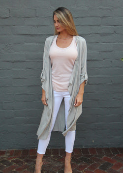 Long Rayon Open Coat - Grey