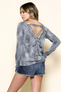 Round Neck Lace Back Sweatshirt - Mauve