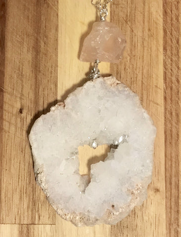 Geode Silver Long Necklace with ROSE QUARTZ