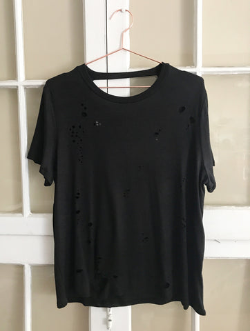 Diecut Distress Tee with Open Back - Black