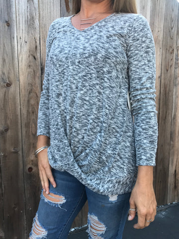 Knot Front Sweater - Heather Grey