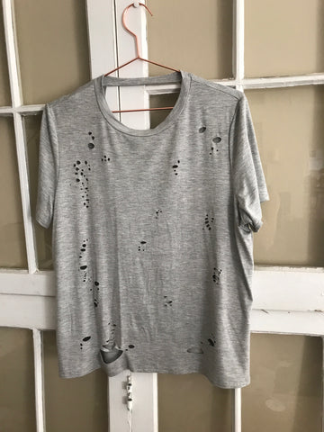 Diecut Distress Tee with Open Back - Grey