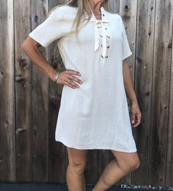 Midi Lace Front Dress - Natural