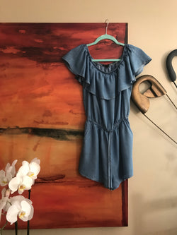Off the shoulder Romper - Denim