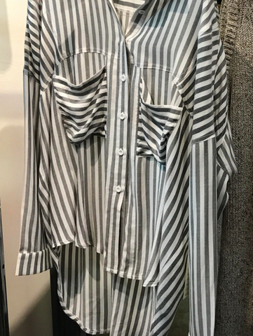 Boyfriend Striped button up Shirt - Black + White