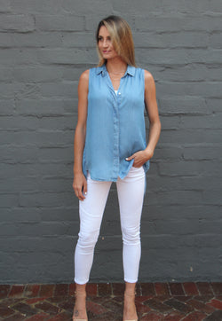 9049 Denim Sleeveless Shirt