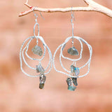 LABRADORITE CHANDELIER 3 LAYERS ACCENT EARRINGS