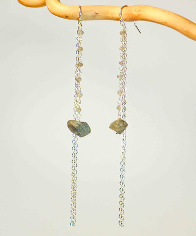 LABRADORITE LINK DROP NUGGET 2 EXTRA LONG CHAIN EARRINGS