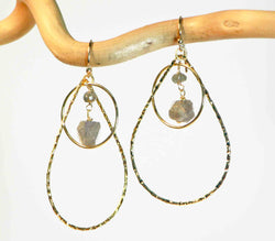 LABRADORITE Circle Tear Earrings