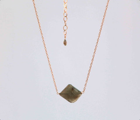 LABRADORITE SM SIMPLE ROCK NECKLACE