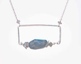 LABRADORITE RECT BOX LG CHUNK ROCK NECKLACE