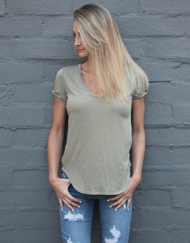 Twist Sleeve Tee - Olive