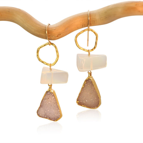 OPALITE TRIANGLE CIRCLE DROP GOLD FILLED+PLATED EARRINGS