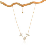 OPALITE SIMPLE CHAIN 3 TRIANGLE GOLD FILLED NECKLACE