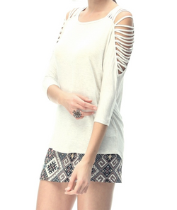 Strappy Shoulder Sleeved Blouse