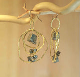 PYRITE CHANDELIER 3 LAYERS ACCENT EARRINGS