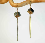 PYRITE CHUNK DAGGER EARRINGS