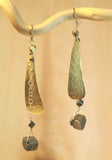 PYRITE HAMMERED LONG TEAR SHAPE EARRINGS