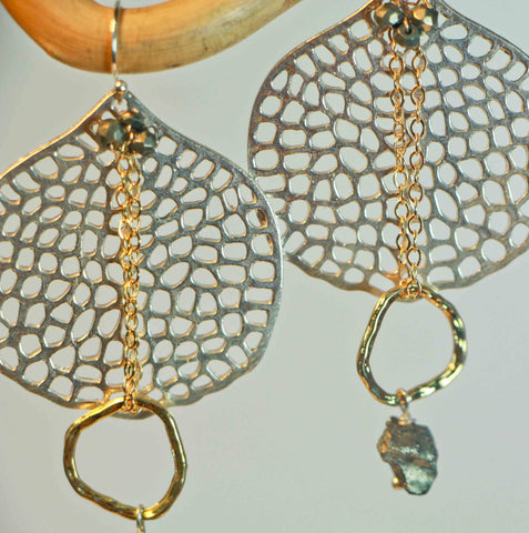 PYRITE HOLE DISC DROP CIRCLE NUGGET EARRINGS