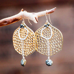 PYRITE Hole Disc Circle Drop Earrings