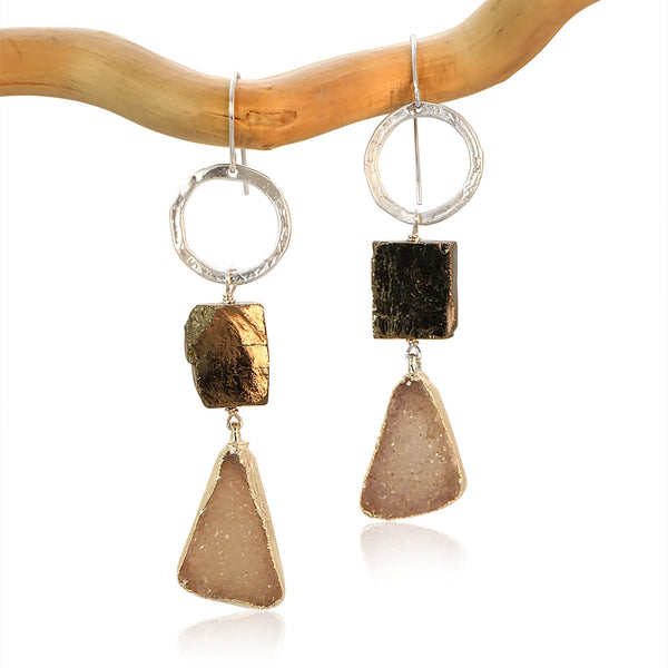 DRUZY TRIANGLE CIRCLE PYRITE SHINY DROP STERLING SILVER+PLATED EARRINGS