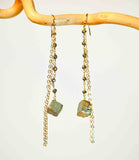 PYRITE LINK DROP NUGGET 2 EXTRA LONG CHAIN EARRINGS