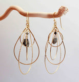 PYRITE 3 TEAR CIR NUGGET EARRINGS