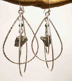 PYRITE 3 TEAR DROP NUGGET EARRINGS