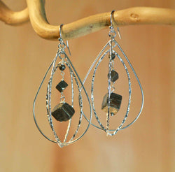 PYRITE EYE TEAR EYE NUGGET EARRINGS