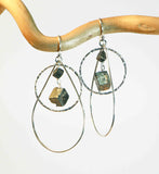 PYRITE LG TEAR CIRCLE LG CHUNK EARRINGS