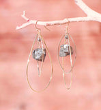 PYRITE LG TEAR EYE LG CHUNK EARRINGS