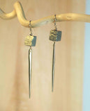 PYRITE REC CHUNK DAGGER EARRINGS